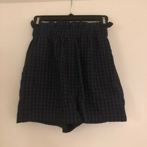Toni blue and black checkered gingham shorts